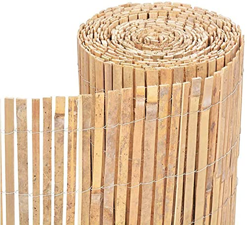 TradeXone Natural Bamboo Slat Fence - Screening Slatted Roll for Garden Outdoor Wind/Sun Border Protection Privacy Panel Shield Garden (1.2m x 4m)