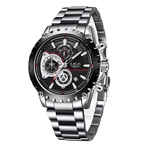 Uhren Herren,LIGE Edelstahl Wasserdicht Sport Analog Quarzuhr Chronograph Datum Kalender Business Casual Kleid Armbanduhr Uhr Schwarz