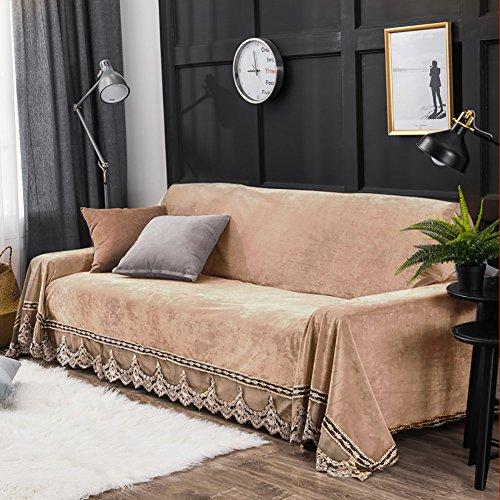 JYPHM Peluche di Divano Vintage Lace Suede Couch Cover Furniture Protector Shield Antiscivolo Divano Slipcover Antipolvere Copertura, Khaki, 200x350cm(79x138inch)
