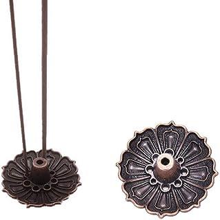 Ameesi 9 Holes Lotus Incense Burner Holder Flower Statue Censer Plate for Sticks Cone - Bronze