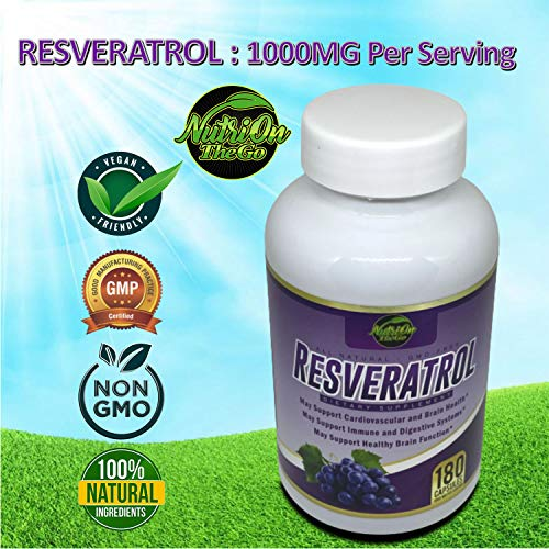 51YM9MxYLGL - Resveratrol Supplement for Whole Health, 90 Day Supply Antioxidant Capsules Resveratrol 1000mg for Brain Health and Cardiovascular Support, Maximum Strength Resveratrol Anti-Aging Supplement
