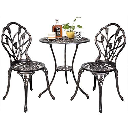 COSTWAY 3 Pezzi Set Mobili da Giardino Set da Tavolo per Balcone Tavolino e 2 Sedie per Balcone