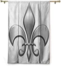 Andrea Sam Tie-Up Window Curtain Fleur De Lis,Lily Flower Symbol Nobility of Knights in Medieval Time European Iris Icon,White Silver,28