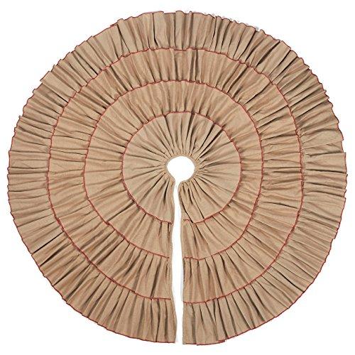 50-Inch Christmas Tree Skirt - Circular Cotton Xmas Tree Decoration, Ruffled Trim Christmas Tree Décor, Creme