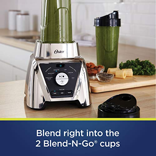 Oster BLSTTS-CB2-000 Pro Blender with Texture Select Settings, 2 Blend-N-Go Cups and Tritan Jar, 64 Ounces, Brushed Nickel