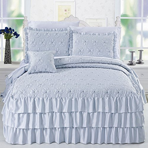 Home Soft Things Serenta 4 Piece Matte Satin Ruffle Quilted Bedspread Set, Queen, Light Blue