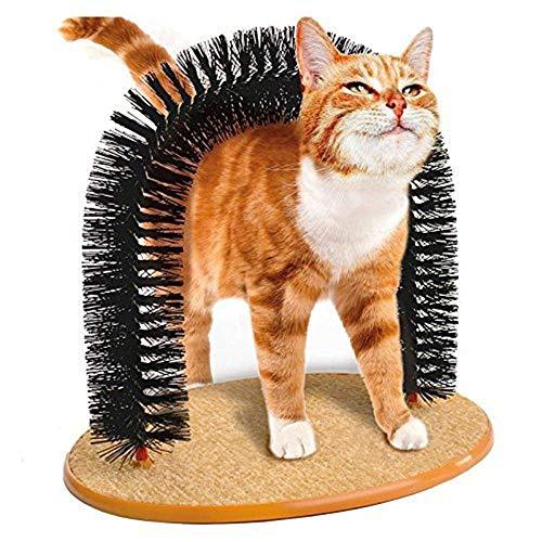 VOYAGO Katzen-Kratzbogen mit weichen, Katzenbogen Selbst Groomer Massagegerät, Bequeme Borsten, für die Massage und Selbst-Pflege von Katzen und Kätzchen