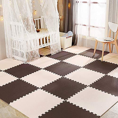 YOLEO Puzzlematte Baby 25er Set, Bodenschutzmatte 30x30cm geruchlos, Spielmatte für Babys und Kinder, Fitnessmatte Sportmatte super weich für Yoga, HIIT und Krafttraining, Beige-Braun