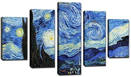 canvashop Quadri Moderni Soggiorno 5 Pezzi cm 166x90 Stampa su Tela Canvas Van Gogh La Notte Stellata