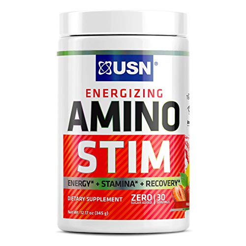 USN Supplements Energizing Amino Stim Sugar Free Energy Supplement - Energy, Stamina Recovery Powder with BCAAs, Fruit Punch, 30 Servings, 11.64 Ounce