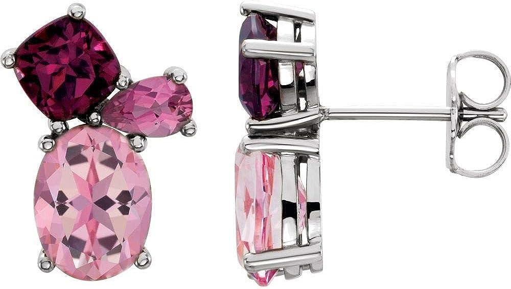 Baby Pink Topaz, Rhodolite Garnet and Pink Tourmaline Stud Earrings (13mm x 9mm)