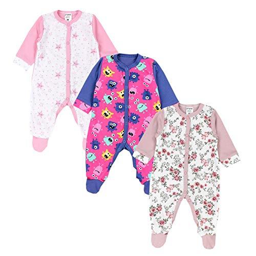 TupTam TupTam Baby Mädchen Schlafstrampler mit Fuß 3er Pack, Farbe: Farbenmix 1, Größe: 92