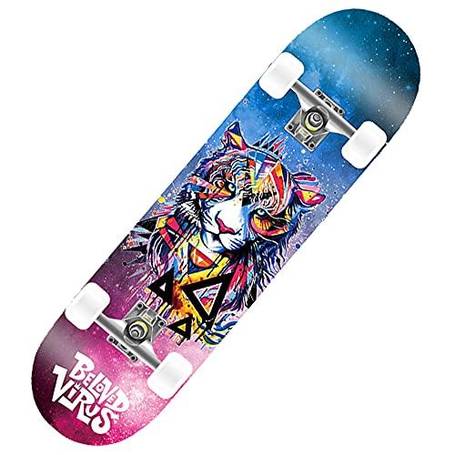 Skateboard Doule Kick Complete per principianti, ragazzi e ragazzi, 78,7 x 20,3 cm, 7 strati di legno d'acero canadese Cruiser concavo (blu)
