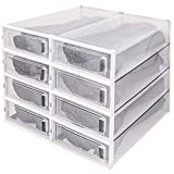 WAYTRIM Foldable Boots Box, Storage Shoe Box, Foldable Clear Boots Display Box, Stackable Storage Bins Shoe Container Organizer, 8 Pack -Clear