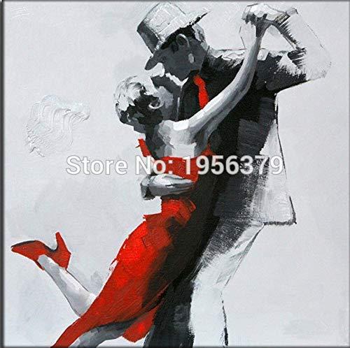 FENGJIAREN Handgemaltes Ölgemälde Dame Und Mann Tanzen Ölgemälde Handgemaltes Modernes Abstraktes Tango-Gemälde Home Dekorative Hängen Bilder, 50 × 50 cm