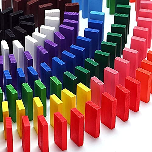 FRONTED Wooden Creative Blocks Educational Buliding Game Set 300 pcs Imported Domino for Kids Standard 12 Colors (300 Pieces) (Milticolor)