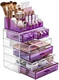 Sorbus Acrylic Cosmetic Makeup and Jewelry Storage Case Display - Spacious Design - Great for Bathroom, Dresser, Vanity and Countertop (4 Large, 2 Small Drawers, Purple/Clear Combo)
