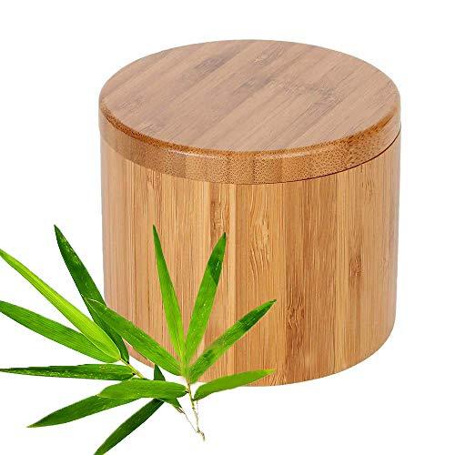 Salero Cocina de Bambú Caja, Caja Almacenamiento de Especias, Caja de Sal, Recipientes de Sal, Natural Caja Almacenamiento Bambú con Tapa Giratoria Magnética para Cocina (Redondo)