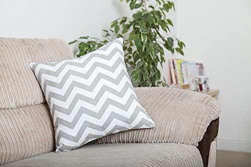 TreeWool, Pack of 2, Throw Pillow Cover Chevron Accent 100% Cotton Decorative Square Cushion Cases (18 x 18 Inches / 45 x 45 cm; Silver Grey & White)