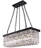 Wellmet Moderna lámpara de araña de cristal K9, lámpara de techo colgante LED para comedor, rectangular, negro, 5 luces, lámpara colgante para salón, comedor, cocina
