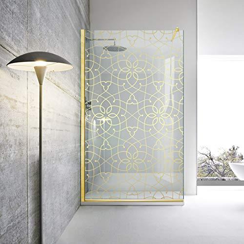 Modern Glass Art Leroy Timeless - Mampara de ducha (cristal templado de 8 mm, nano, acabado de latón dorado), dorado