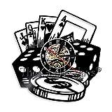 Lucky Poker Stars Dekorative Wanduhr Poker Pikass Schallplatte Wanduhr 3D Wanduhren Für Spielzimmer...