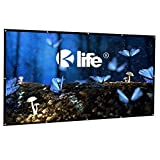100 Inch Projection Screen 16:9 HD Portable Anti-Crease Foldable Indoor Outdoor Projector Movie Screen, Free Hooks