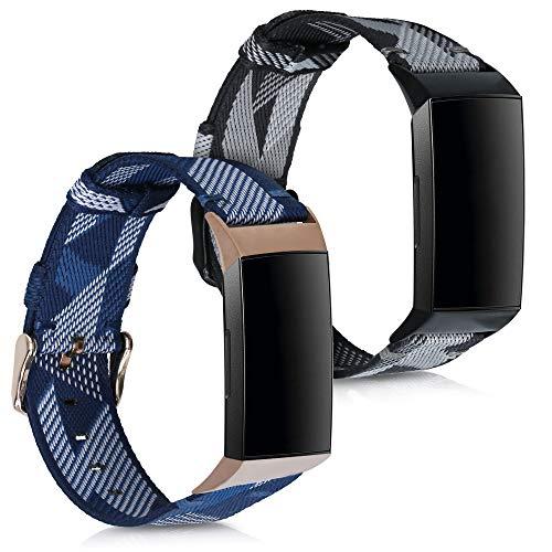 kwmobile Set 2X Pulsera Compatible con Fitbit Charge 3/4 - Brazalete de Nylon Gris/Azul sin Fitness Tracker