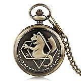 Pocket Retro Silver Quartz Pocket Watch Hombres Moda Anime japonés Fullmetal Alchemist Collar Fob Relojes Regalo para niños para Reloj bronze30cmchain