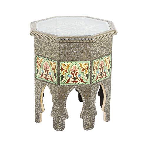 Casa Moro | Mesa auxiliar de madera maciza (45 cm de diámetro x 51 cm de altura), diseño marroquí | MO1013