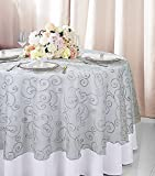Wedding Linens Inc. 90' Round Embroidered Organza Sheer Table Overlays Toppers Organza Tablecloths Table Covers Linens for Wedding Party Banquet Events - Silver/Gray
