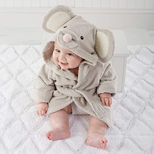 IAMZHL Animal à Capuche modèle ing Peignoir bébé/Dessin animé bébé Spa Serviette/Personnage Enfants Peignoir/bébé Serviettes de Plage -Grey Mouse
