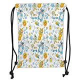 Fevthmii Drawstring Backpacks Bags,Nursery,Its a Boy Image with Happy Sun Raccoon in Pyjamas Blue Hats and Pacifier Decorative,Earth Yellow Aqua Soft Satin,5 Liter Capacity,Adjustable Strin