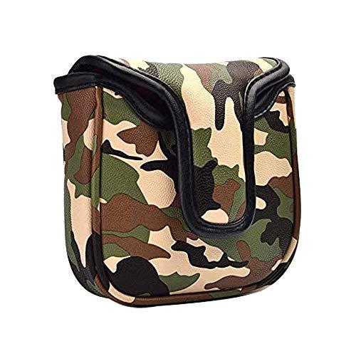 GOOACTION Golfschläger-Abdeckung, quadratisch, mit Magnetverschluss, Kreatives Muster, Leder, camouflage grün