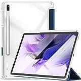 Kdely Funda Compatible con Samsung Galaxy Tab S7 FE 2021/S7+ 12.4' Cover Protector con Integrado para S Pen Holder, Ultra Slim Carcasa con Soporte Función Auto-Sueño/Estela - Azul Marino