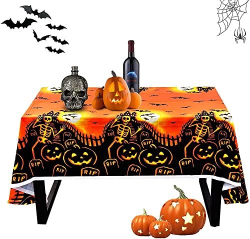 Mantel de Halloween,Terror Manteles Halloween,Mantel de Calabaza de Halloween,Fiesta temática de Halloween,Mantel Impermeable de Halloween,Halloween Decoracion,Mantel de plástico(137X180cm)