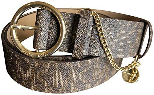 Michael Kors Women's Buckle Logo Brown Wide Gold Tone Charm Belt L, Brown/Gold