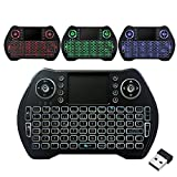Mini Teclado Inalámbrico de 2.4G Teclado Portátil Retroiluminado con Mouse Touchpad para Android TV Box Game Pad Smart Phone Tablet Mac Linux Windows OS,Mini Teclado Moderno