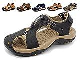 Sandalias Deportivas Hombres Verano Exterior Senderismo Zapatos Trekking Casual Zapatos de Montaña Cuero Sandalias de Playa,Black,38.5/40 EU,38/39 CN Talla del Fabricante