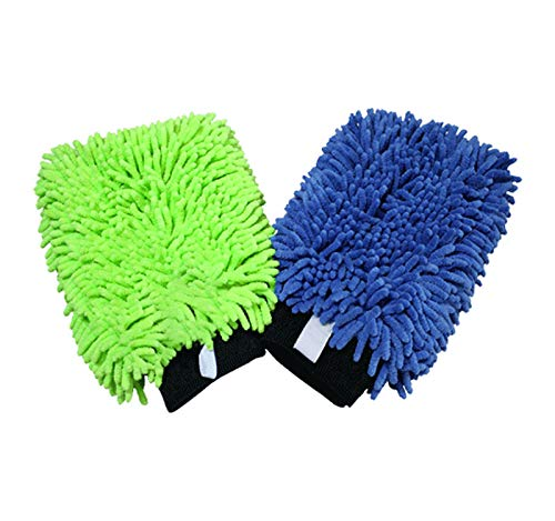 THE RAG COMPANY (2-Pack) Premium Soft Microfiber Chenille Knobby SCRATCH-FREE, LINT-FREE Wash Mitts, One Royal Blue and One Lime Green