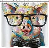 Duschvorhang Aquarell Schwein Tier Lustig Cool Bunt Vintage Ölgemälde Hipster Niedliches Design Vorhang Polyester Wasser Stoff mit 12 Haken 72 x 72 Zoll