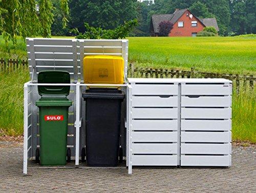 4er Mülltonnenbox / Mülltonnenverkleidung 240 L Holz, Deckend Geölt Lichtgrau - 2