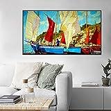 SADHAF Pinturas al óleo en el mar, carteles y murales de navegación, cuadros, impresión, decoración del hogar, sala de estar, lienzo de pintura A4 60x80cm