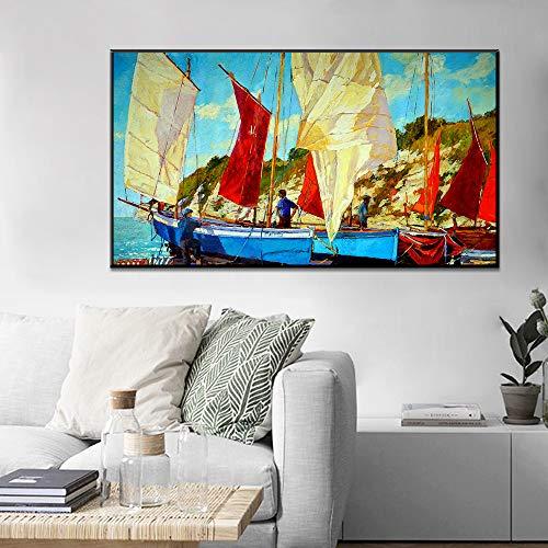 SADHAF Pinturas al óleo en el mar, Carteles y murales de vela, Imágenes, Impresión, Decoración del hogar, Sala de estar, Pintura en lienzo A6 70x100cm