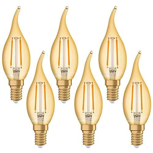 6 x Osram LED Filament Vintage 1906 Windstoß Kerze 1,4W = 12W E14 klar gold extra warmweiß 2500K