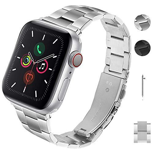Fullmosa für Apple Watch Armband 38mm 40mm, Werkzeugfreies Kostenlos Uhrenarmband, Metallarmband Edelstahl Ersatzarmband kompatibel mit iWatch Series 5/4/3/2/1 (Silber)