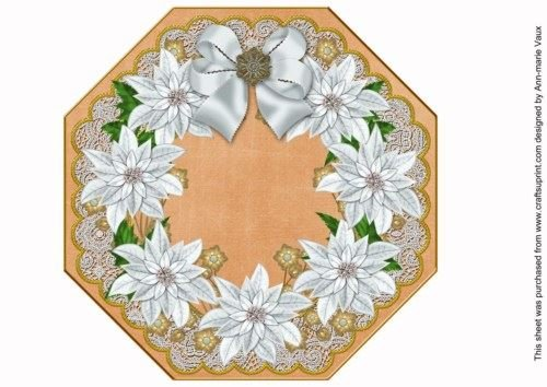 White Poinsettia Orange Octagon 8in Picture Topper Sheet by Ann-marie Vaux