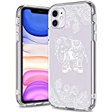 BICOL iPhone 11 Case,White Elephant Pattern Clear Design Transparent Plastic Hard Back Case with Soft TPU Bumper Protective Cover Phone Case for Apple iPhone 11 6.1' 2019