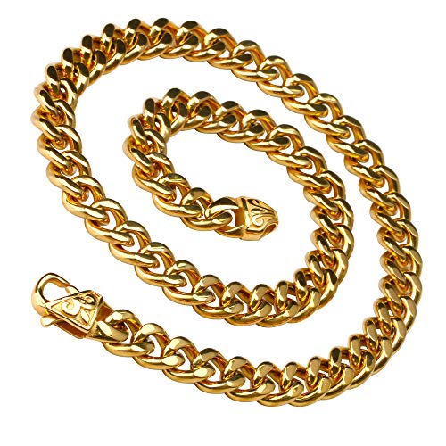 [silver KYASYA]ステンレス 喜平 ネックレス きへい フレア 百合の紋章 ゆり シンプル ネックレス チェーン 金色 ゴールド gold メンズ 50cm