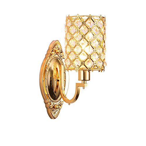 Wandleuchte,Crystal Einfachheit Elektrophorese Gold sozialen goldenen Kristall Wand Lampe